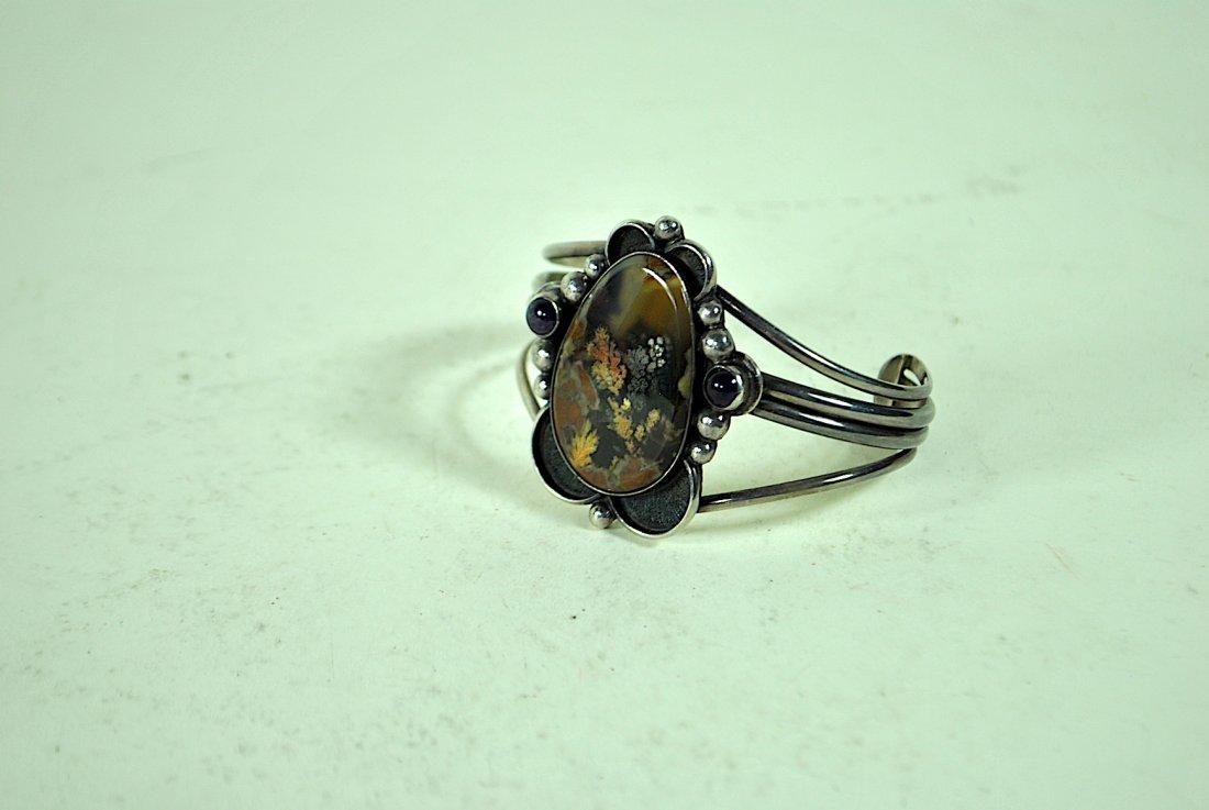 Signed Terner Navajo Sterling Cuff Bracelet - 2
