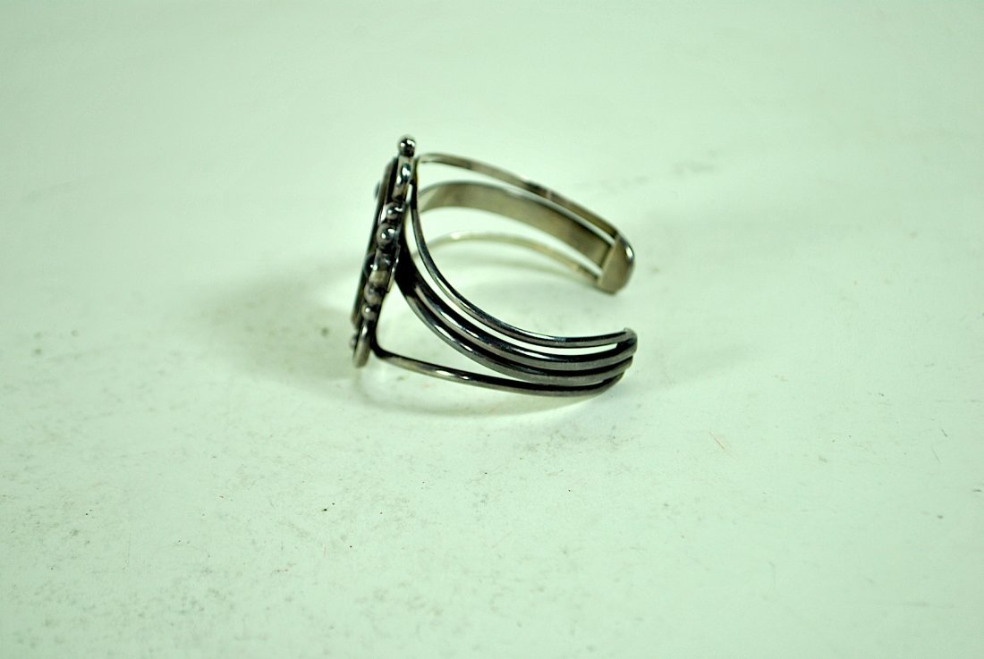 Signed Terner Navajo Sterling Cuff Bracelet - 3