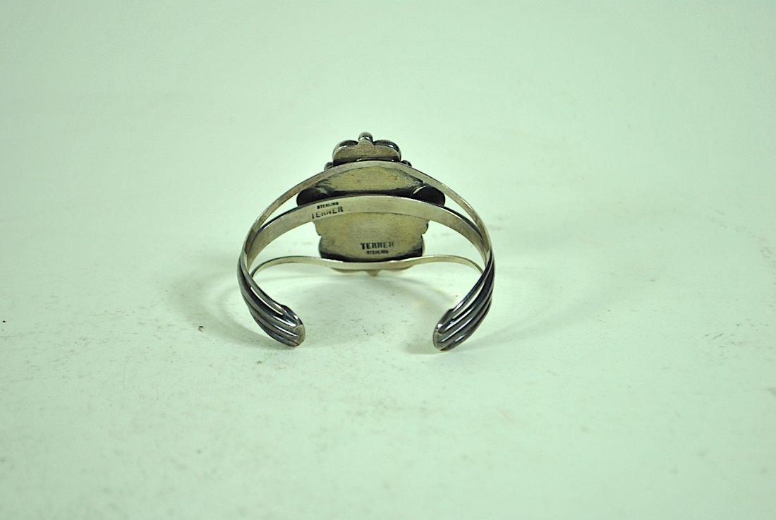 Signed Terner Navajo Sterling Cuff Bracelet - 4