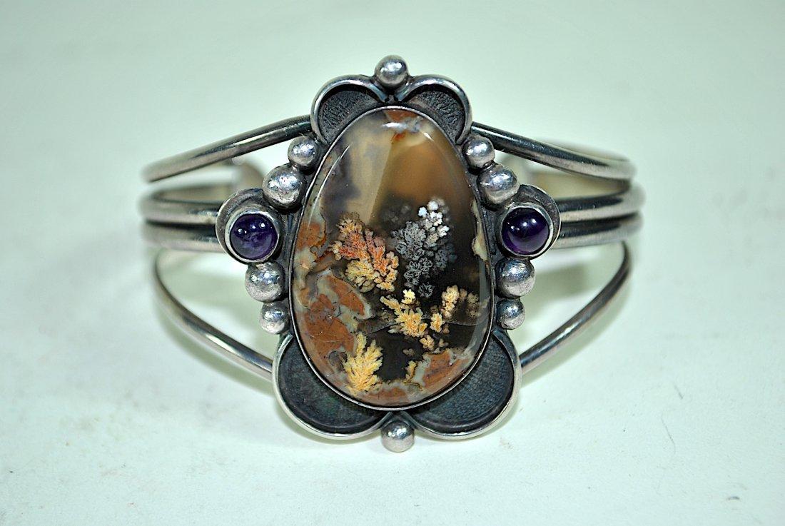 Signed Terner Navajo Sterling Cuff Bracelet - 6