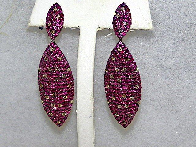 Pair Ruby & Diamond Earrings w/Yellow & White Gold
