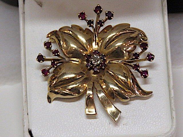 Art Deco Diamond & Ruby Floral Brooch