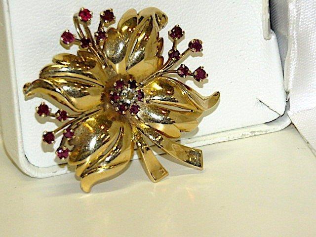 Art Deco Diamond & Ruby Floral Brooch - 2