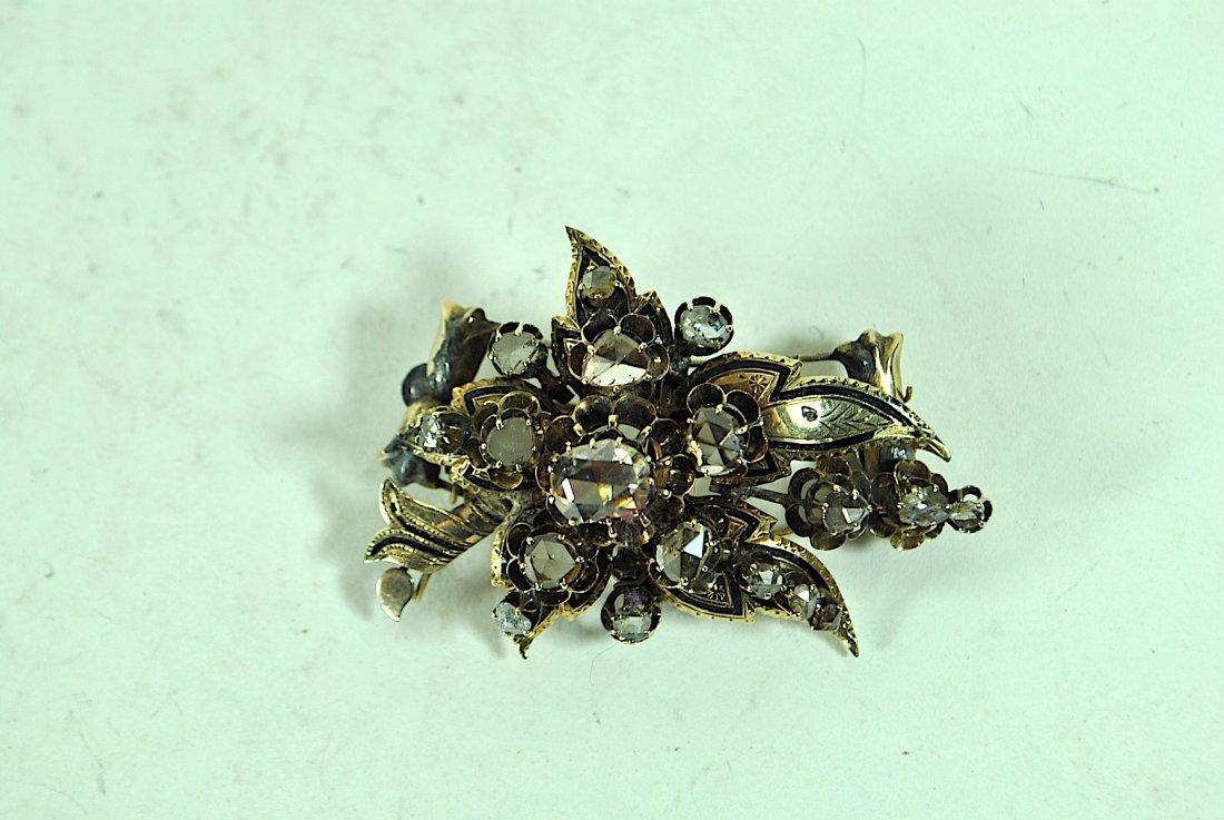 Sliced Cut 14k Diamond Brooch w/Enamel