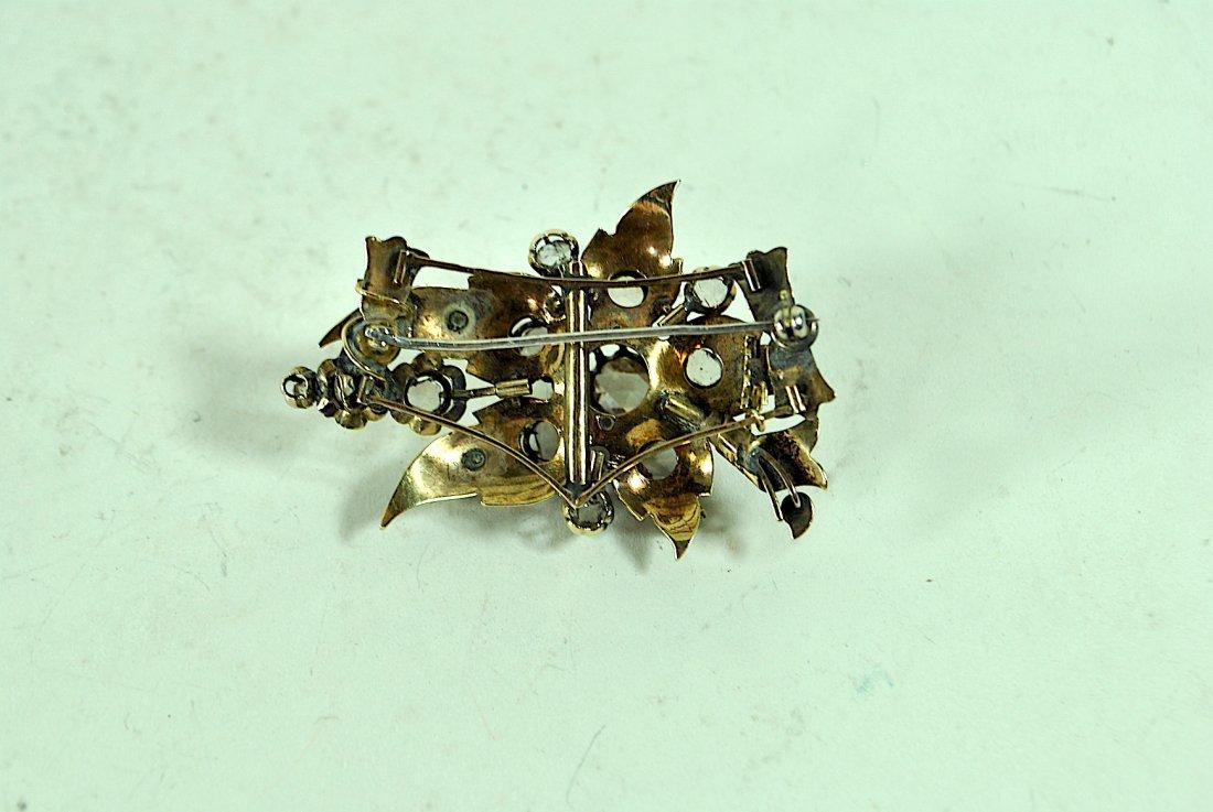Sliced Cut 14k Diamond Brooch w/Enamel - 2