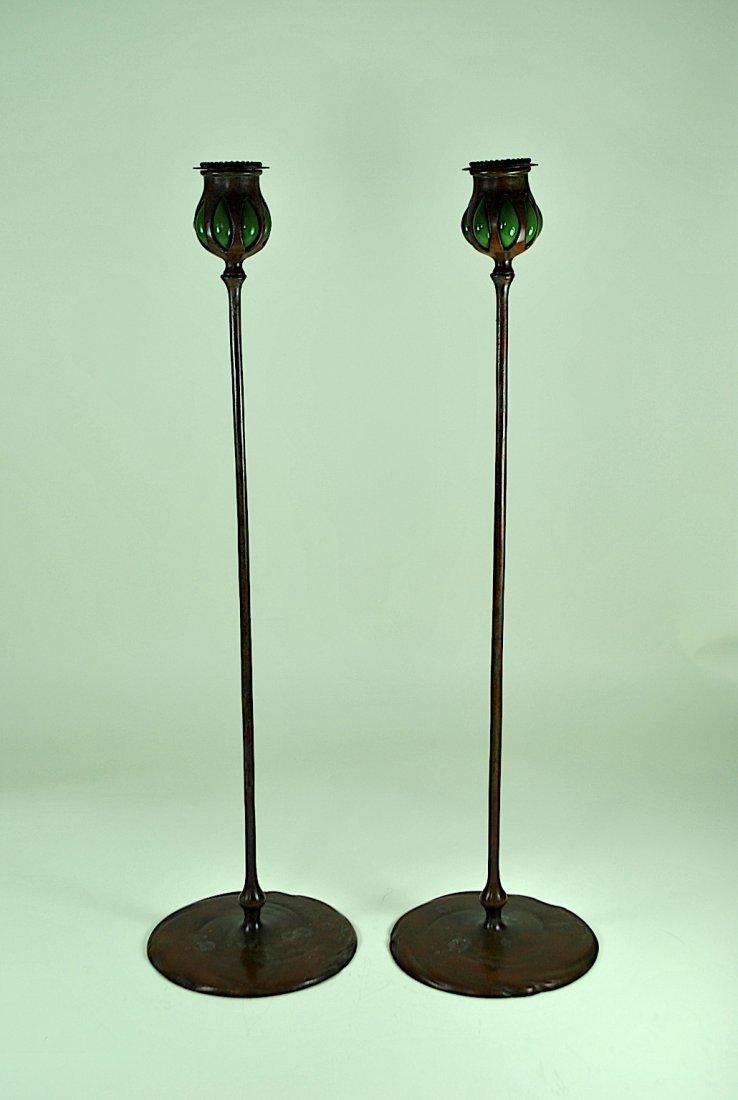 Pair Tiffany Bronze & Green Favrile Glass Candlesticks