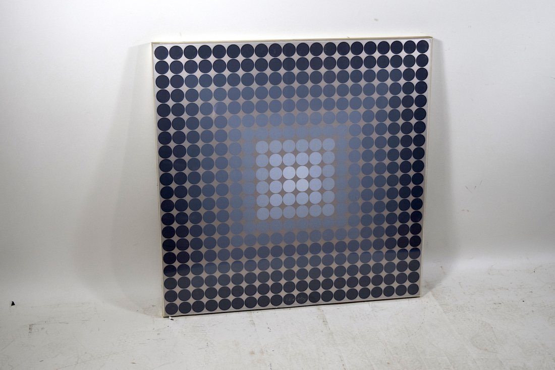 Pencil Signed Vasarely Silver Foil Serigraph