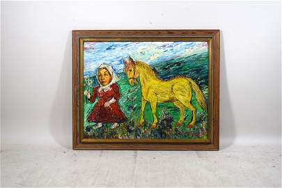 Signed Burliuk Oil on Board 'Woman with Horse'