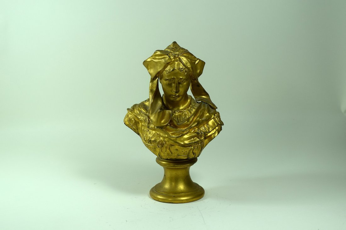 Signed P Dubois Victorian Bronze Bust of a Woman