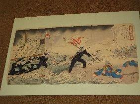 377: JAPANESE TRIPTYCH BLOCK PRINT 'NAVAL BATTLE SCENE