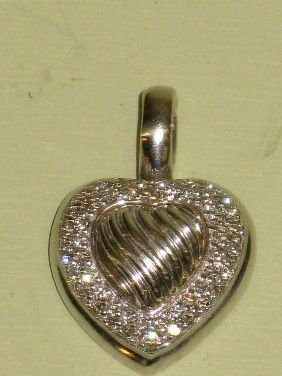 391: DAVID YURMAN PAVE DIAMOND & STERLING HEART PENDANT