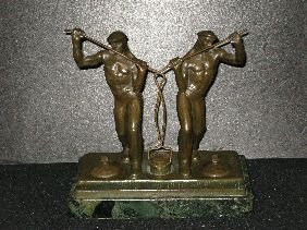 396: FIGURAL BRONZE DOUBLE INKWELL SIGNED KRIPPEL
