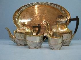 251: 5 PC GORHAM STERLING TEASET INCLUDING TRAY