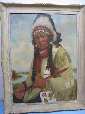 260: OIL PORTRAIT 'INDIAN CHIEF' SIGNED H METZGER