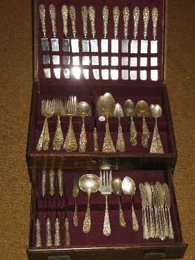 302: 114 PC STIEFF BALTIMORE ROSE STERLING FLATWARE SET
