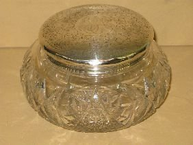 379: CUT GLASS DRESSER BOX W/STERLING LID