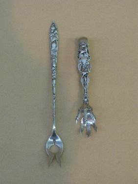 382: STERLING-TIFFANY VINE PICKLE FORK, WHITING TONGS