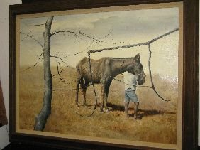 401: OIL 'BOY W/HORSE' SIGNED JOSEPH DAWLEY
