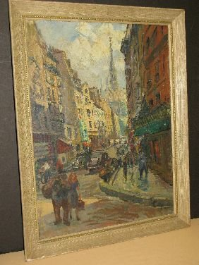 412: OIL 'RUE PIERRE SANTOS' SIGNED PONTOY