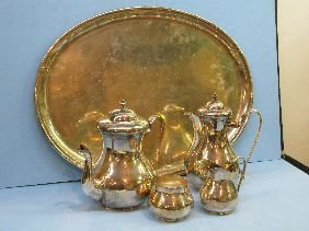 308: 5 PC BUCCELLATI STERLING HAND HAMMERED TEASET