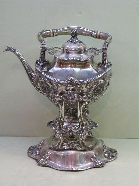 352: REED & BARTON  NOUVEAU STERLING KETTLE ON STAND