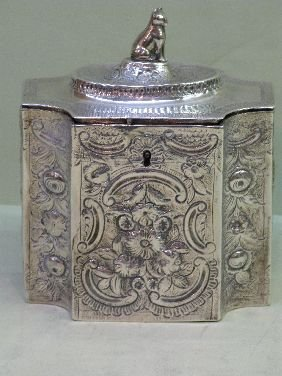 356: ENGLISH GEORGIAN DECORATED STERLING TEA CADDY