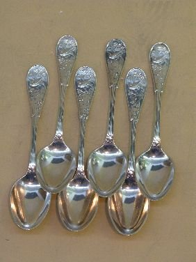 319: 6 TIFFANY & CO 'JAPANESE' STERLING TEASPOONS