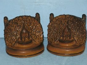 364: PR ROOKWOOD POTTERY 'PEACOCK' BOOKENDS
