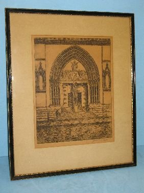 372: E T HURLEY ETCHING 'CATHEDRAL'