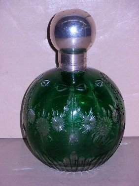 407: ENGLISH GREEN ENGRAVED COLOGNE W/STERLING TOP