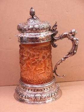 "411: 15"" HIGH FIGURAL GERMAN SILVER  & IVORY TANKARD"