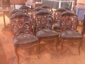 457: SET OF 10 BELTER LAMINATED OAK SIDE CHAIRS