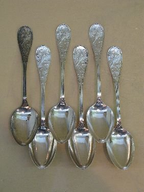256: 6 TIFFANY 'JAPANESE' PATTERN STERLING TABLESPOON