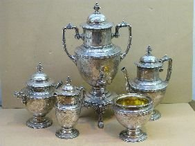 261: 5 PC WM GALE & SON VICTORIAN STERLING TEASET