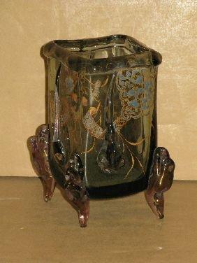 266: AUGUSTE JEAN FRENCH ENAMELED ART GLASS VASE