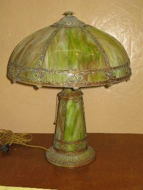 272: METAL OVERLAY SLAG GLASS TABLE LAMP W/SLAG BASE
