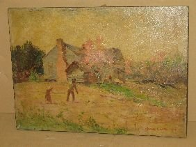 321: OIL 'WORKING AT THE HOMESTEAD' SIGNED LYELL CARR