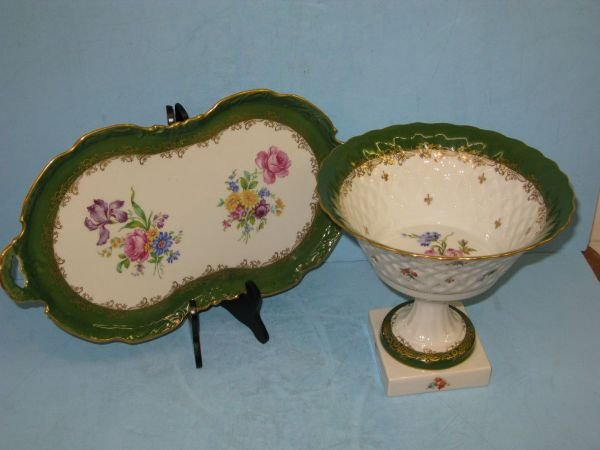 308: LIMOGES TRAY & COMPOTE