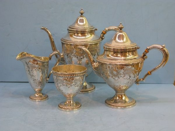 320: 4 PC FRANK WHITING STERLING TEA SET