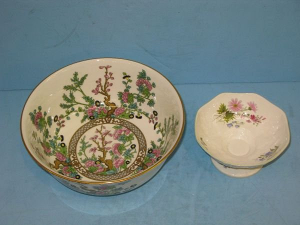 322: 'INDIAN TREE' BOWL & CROWN STAFFORDSHIRE COMPOTE