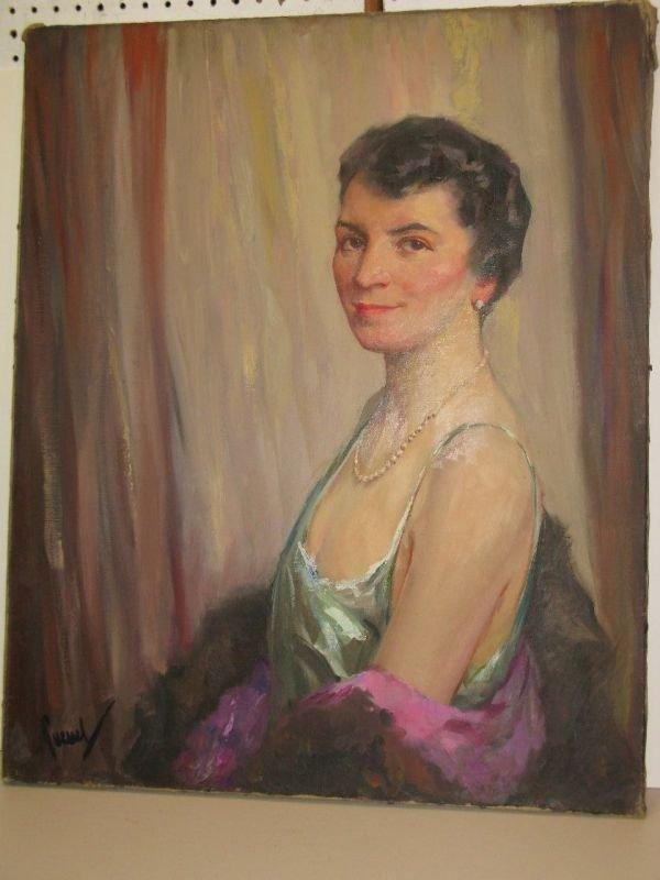 308: EDWARD CUCUEL OIL 'PORTRAIT OF A WOMAN'
