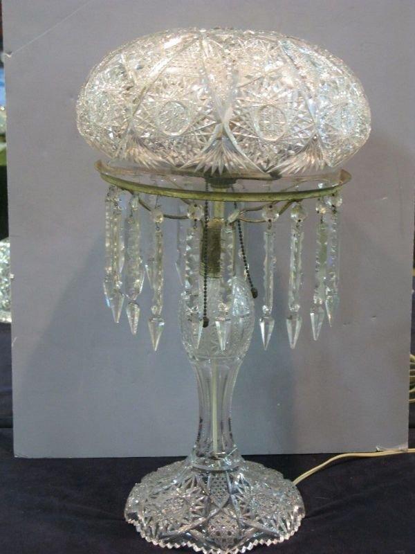 320: BRILLIANT CUT GLASS 2 LIGHT TABLE LAMP