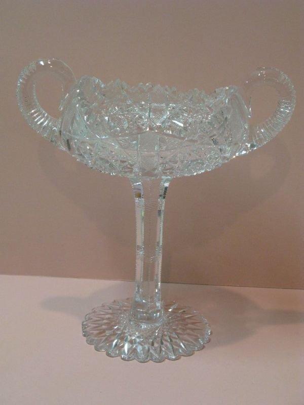 323: 'ARCADIA' PATTERN CUT GLASS PEDESTAL CANDY BOWL