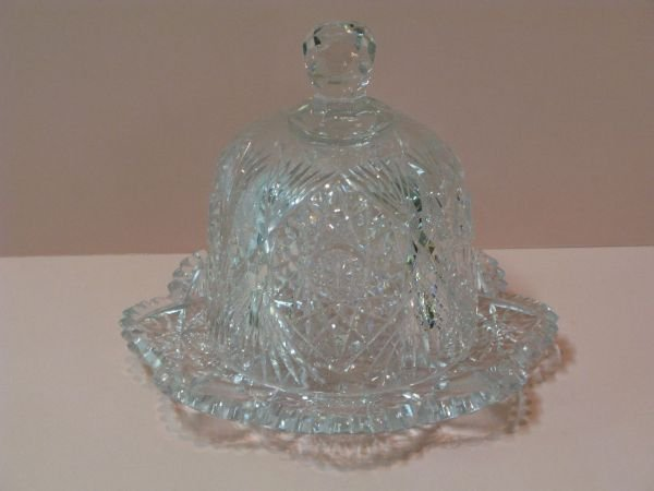 324: BRILLIANT CUT GLASS DOMED CHEESE DISH