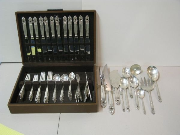 343: 82 PC ROYAL DANISH STERLING FLATWARE SET FOR 12