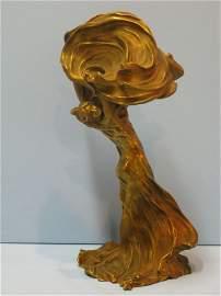 301: RAOUL LARCHE LOIE FULLER ART NOUVEAU BRONZE LAMP