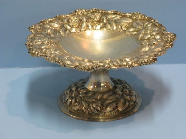 322: STIEFF REPOUSSE STERLING COMPOTE