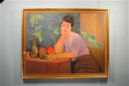 """AUGUST MOSCA OIL """"GIRL AT TABLE"""""""