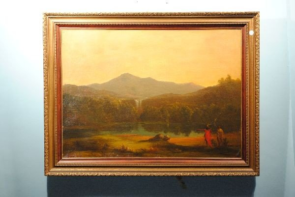 "293: BIERSTADT OIL ""MOUNTAIN CASCADE AND POOL"""