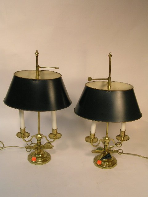 19: PAIR FRENCH STYLE DIRECTOIRE LAMPS W/ TOLE SHADES